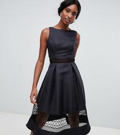 Структурированное платье миди с кружевными вставками Chi Chi London Tall - Черный