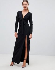 Черное платье макси с глубоким вырезом и завязкой Boohoo - Черный