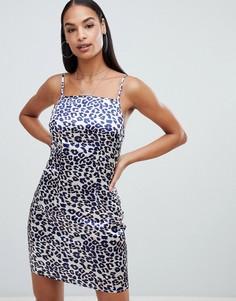 Платье с квадратным вырезом и леопардовым принтом Boohoo - Мульти