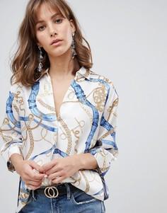 7f9d31cc727 Атласная блузка с открытой спиной и принтом River Island - Мульти