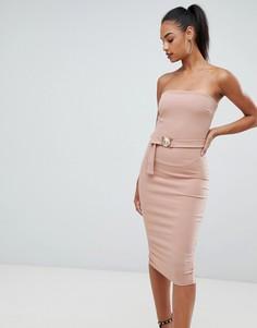 Розовое облегающее платье-бандо миди с поясом Boohoo - Розовый