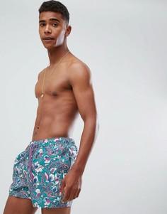 Короткие шорты для плавания с принтом пейсли ASOS DESIGN - Зеленый