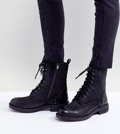 Кожаные ботинки на плоской подошве Steve Madden - Черный