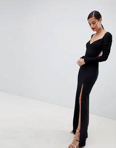 Платье макси с вырезом в форме сердца и сборками на рукавах ASOS DESIGN - Черный