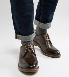 Коричневые кожаные ботинки дерби Base London Wide - Коричневый