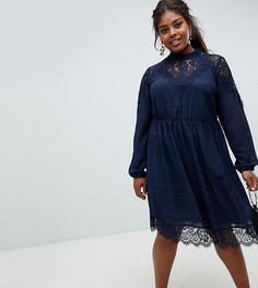 Платье-бохо с кружевом и высоким воротом Junarose - Темно-синий