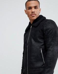 Куртка из искусственной кожи с подкладкой из искусственного меха Jack & Jones Originals - Черный