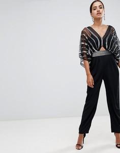 Комбинезон с рукавами-кимоно, широкими штанинами со складками и декоративной отделкой ASOS DESIGN - Черный