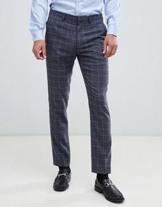Серые зауженные брюки в клетку Burton Menswear - Серый