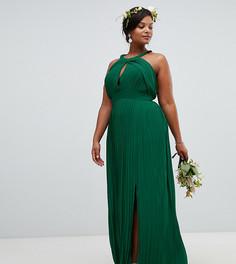 Плиссированное платье макси TFNC Plus - Зеленый
