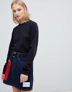 Лонгслив с логотипом Calvin Klein Jeans - Черный