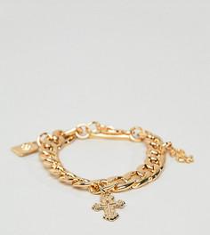 Толстый золотистый браслет с подвесками Glamorous - Золотой