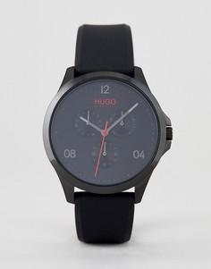 Черные часы с силиконовым ремешком HUGO 1530034 Risk - Черный
