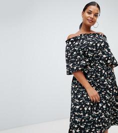 Платье миди из шифона с подкладкой, открытыми плечами и цветочным принтом Boohoo Plus - Мульти