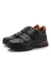 Кожаные кроссовки с застежками велькро Zegna Couture