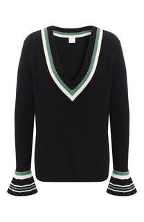 Хлопковый пуловер с V-образным вырезом BOSS