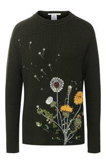 Шерстяной пуловер с декоративной вышивкой Oscar de la Renta