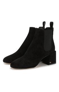 Замшевые ботильоны Vally на устойчивом каблуке Dolce & Gabbana