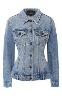 Приталенная джинсовая куртка с потертостями Denim X Alexander Wang