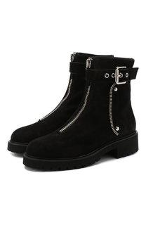 Замшевые ботинки с внутренней отделкой из меха кролика Giuseppe Zanotti Design