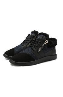 Замшевые кроссовки с внутренней меховой отделкой Giuseppe Zanotti Design