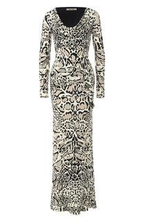 Приталенное платье-макси с принтом Roberto Cavalli