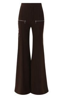 Расклешенные шерстяные брюки с декоративными молниями Chloé