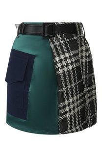 Мини-юбка с поясом и накладным карманом self-portrait