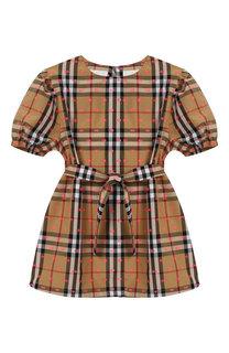 Хлопковое мини-платье с поясом Burberry