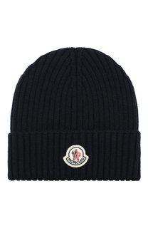 Кашемировая шапка с логотипом бренда Moncler