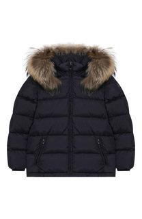 Стеганая куртка с меховой отделкой на капюшоне Il Gufo