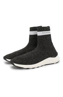 Высокие текстильные кроссовки с люрексом Casadei