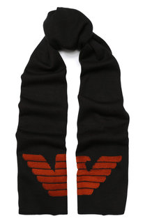 Шерстяной шарф с логотипом бренда Emporio Armani