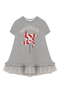Хлопковое платье свободного кроя с оборкой Fendi