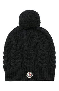 Шерстяная шапка фактурной вязки с помпоном Moncler
