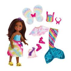 "Мини-кукла Barbie ""Dreamtopia Радужная бухта"" Челси-русалка ароамериканка-брюнетка, 15 см Mattel"