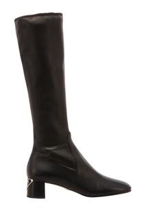Черные кожаные сапоги Prada
