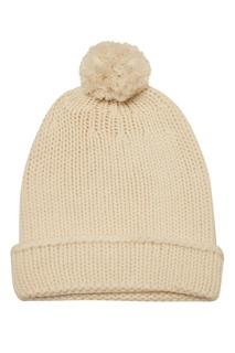 Белая вязаная шапка Tegin