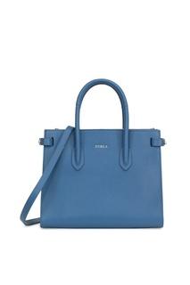 Синяя кожаная сумка Furla