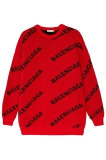 Красный джемпер с логотипами Balenciaga