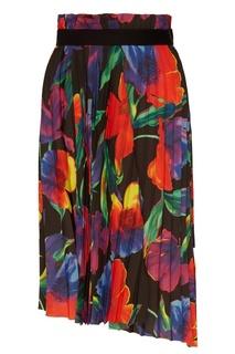 Плиссированная юбка с цветочным принтом Balenciaga