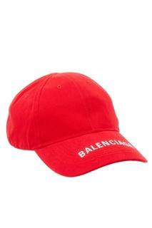 Красная бейсболка с вышивкой Balenciaga