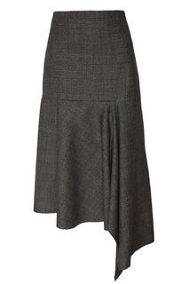 Шерстяная юбка с оборкой Balenciaga