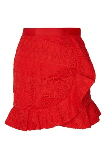 Красная кружевная юбка с оборками Self Portrait