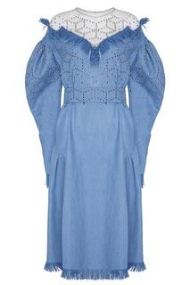 Голубое платье миди с отделкой Alena Akhmadullina