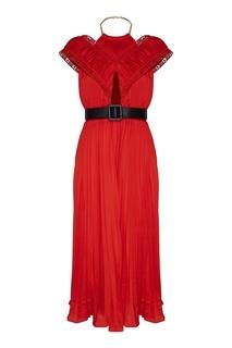 Красное платье с плиссировкой Self Portrait