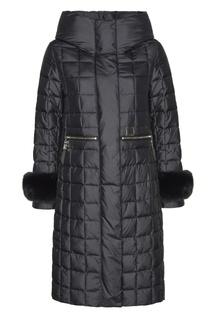 Стеганое черное пальто с отделкой Mila Marsel