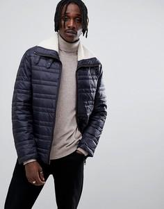 Темно-синяя стеганая куртка с воротником борг Antony Morato - Темно-синий