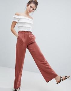 Оранжевые широкие брюки Monki - Коричневый