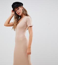 Бежевое платье миди в рубчик с V-образным вырезом и короткими рукавами Missguided - Бежевый